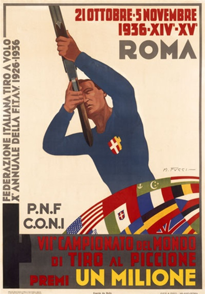 Roma 1936 Germany - Beautiful Vintage Poster Reproductions. This vertical German theater and exhibition poster features a hunter shooting his target in front of a quilt of different flags. Giclee Advertising Print. Classic Posters
