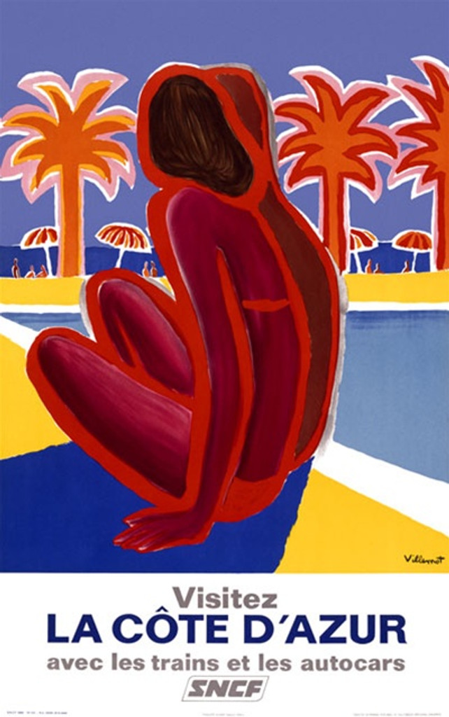 La Cote d Azur by Villemot 1968 France - Vintage Poster Reproductions. This vertical French travel poster features a red figure of a woman in a bathing suit sitting next to a pool by the sea with palm trees. Giclee Advertising Print. Classic Posters