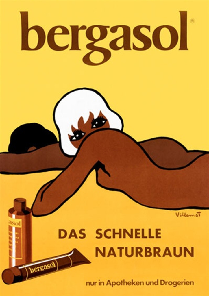 Bergaso by Bernard Villemot 1958 French - Vintage Poster Reproductions. French product poster features a woman and a man lying on the sand/ beach advertising bronze tans on a yellow background. Giclee Advertising Print. Classic Posters