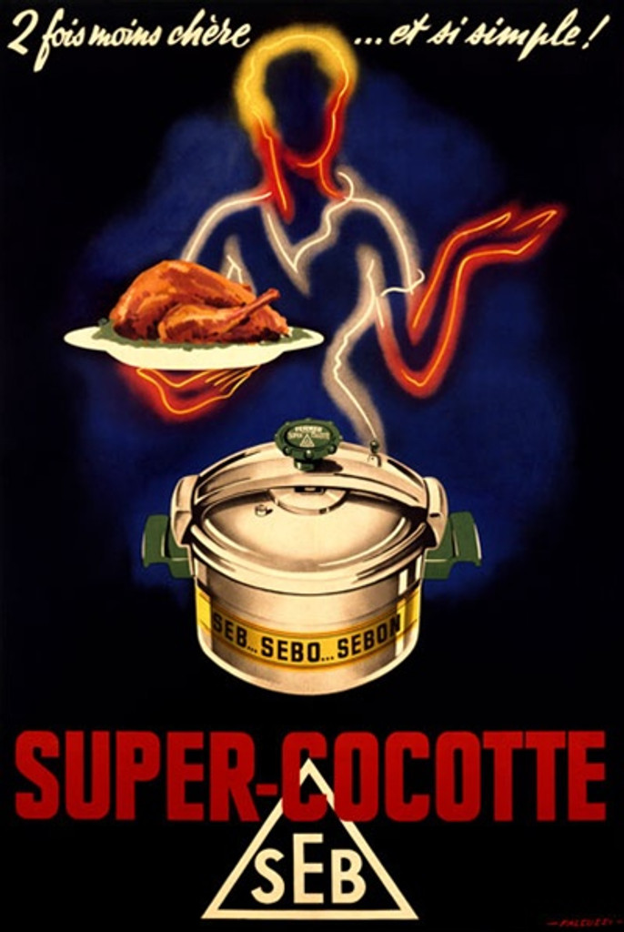 Super Cocotte 1938 France - Beautiful Vintage Poster Reproductions. This vertical French product poster features a neon light outline of a woman holding a platter of chicken and a pressure cooker in front of her. Giclee Advertising Print. Classic Posters