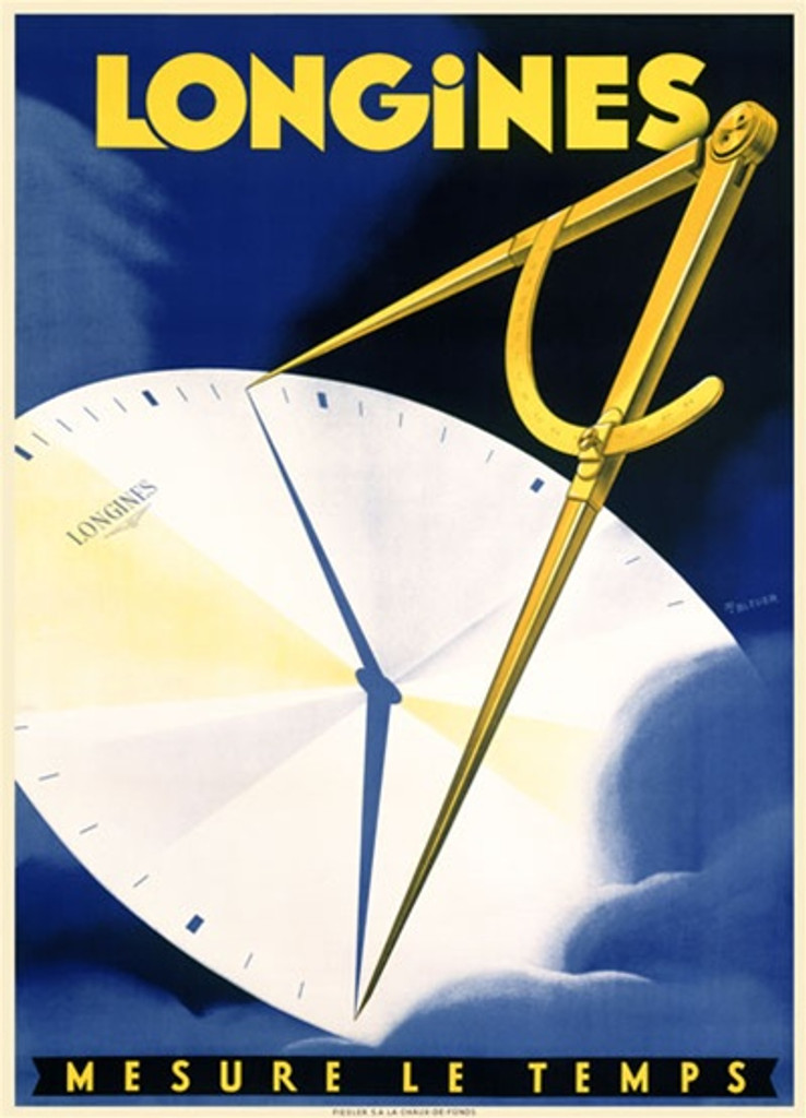 Longines 1938 Switzerland - Beautiful Vintage Poster Reproductions. This vertical Swiss product poster features a clock face with a compass casting a shadow in the shape of watch hands in a blue cloud. Giclee Advertising Print. Classic Posters