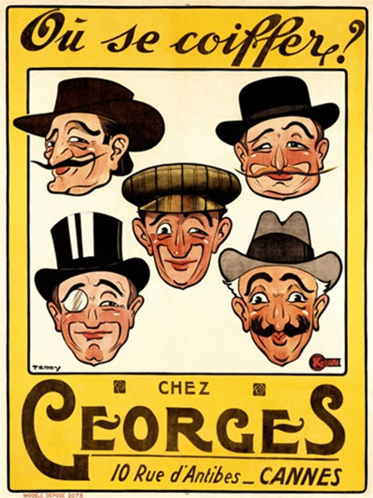 Chez Georges by Teddy 1905 France - Beautiful Vintage Poster Reproductions. This vertical French product poster features 5 mens faces all wearing hats, some with mustaches or monocle with yellow boarder. Giclee Advertising Print. Classic Posters