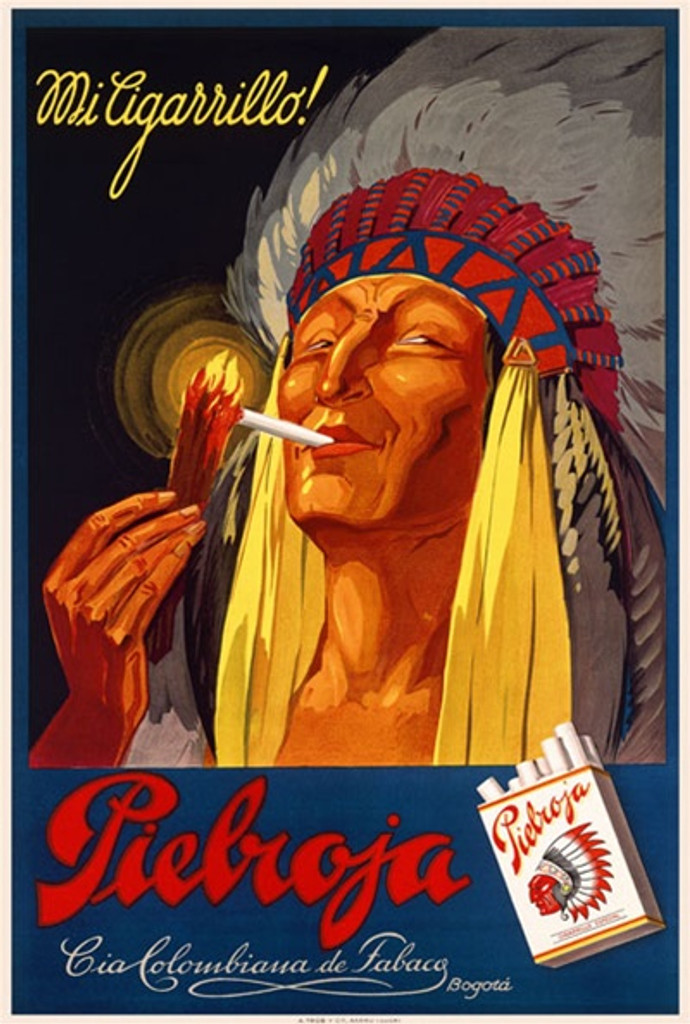 Pielroja 1930 Switzerland - Beautiful Vintage Poster Reproductions. This vertical Swiss product poster features a native american chief in feather headdress lighting a cigarette with a lit twig. Giclee Advertising Print. Classic Posters