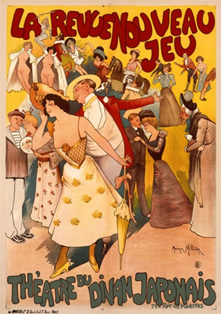 Theatre du Divan Japonais 1900 France - Beautiful Vintage Poster Reproductions. This vertical French theater and exhibition poster features 3 couples in front of a crowd of performers, dancers, horse back rider. Giclee Advertising Print. Classic Posters