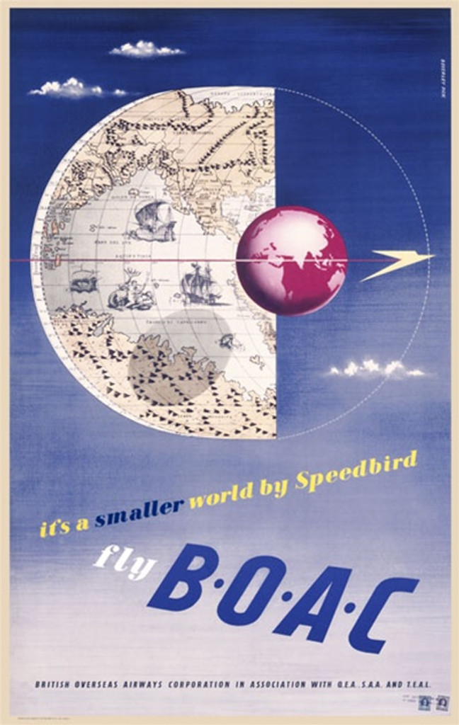Fly B.O.A.C 1948 England - Beautiful Vintage Poster Reproductions. This vertical English travel poster features a map and a globe in the sky with a few clouds and a bird flying past. Giclee Advertising Print. Classic Posters