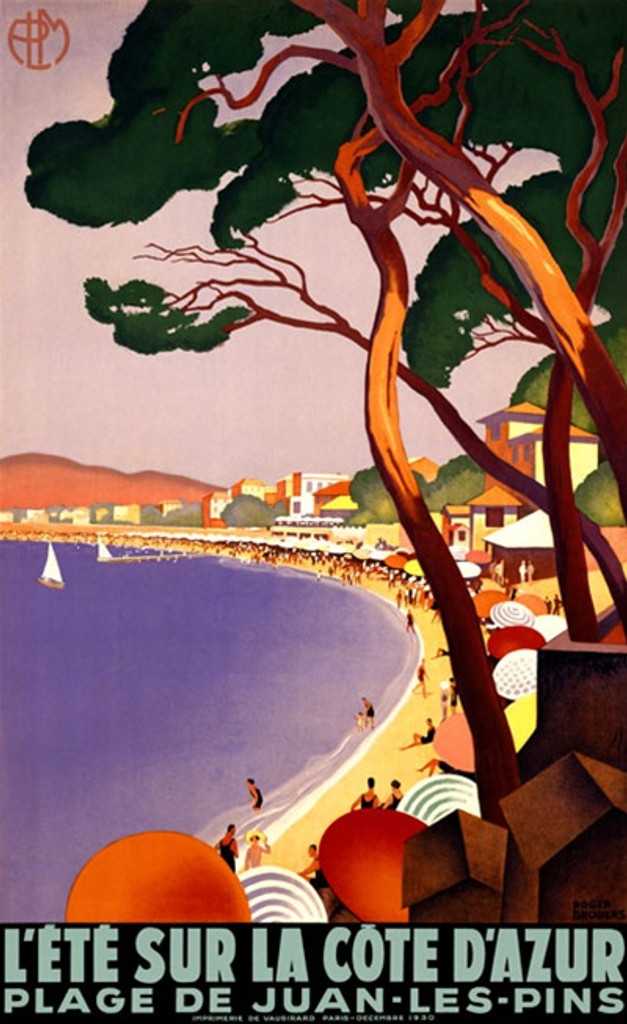 La Cote dAzur by Broders 1930 France - Vintage Poster Reproductions. This French travel poster features a coastal beach lined with umbrellas and homes seen through the trees with a few sailboats on the water. Giclee Advertising Print. Classic Posters