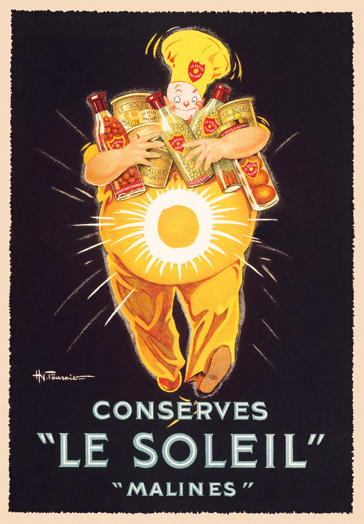 Conserves Le Soleil Vintage Poster Reproduction. This vertical French culinary / food poster features a fat man with his arms full of bottles and cans of food. He has a white circle on his belly. Giclee Advertising Prints. Classic Posters