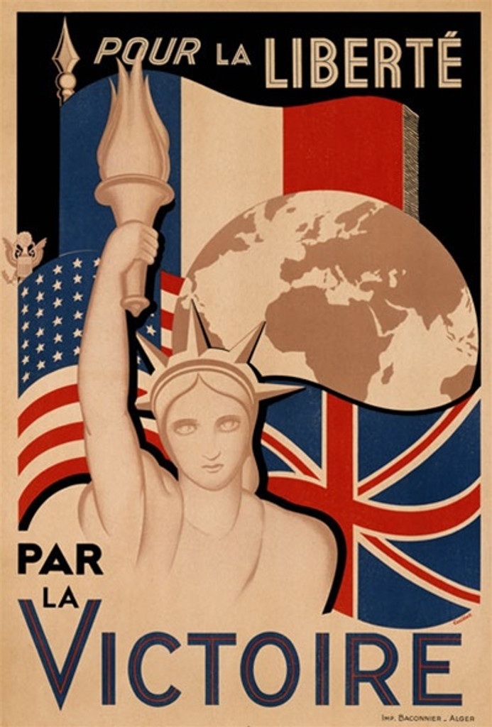 La Victoire 1940 America/USA - Beautiful Vintage Poster Reproductions. This vertical American product poster features the statue of liberty in front of a bean shaped globe and French, english and american flags. Giclee Advertising Print. Classic Posters