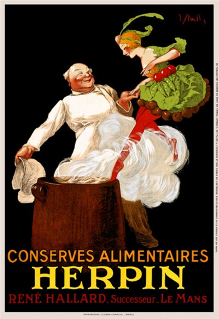 Conserves Herpin by J. Stall 1925 France - Beautiful Vintage Poster Reproductions. This vertical French product poster features a woman dressed in food being helped into a smoking pot by a cook. Giclee Advertising Print. Classic Posters