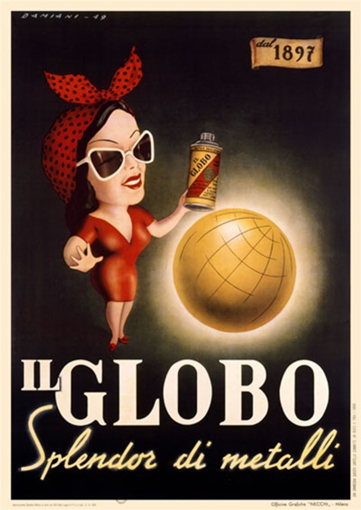 Il Globo by Damiani 1948 Italy - Vintage Poster Reproductions. Italian product poster features a woman in a red dress wearing sunglasses in front of a shiny globe holding a bottle of polish. Giclee Advertising Print. Classic Posters