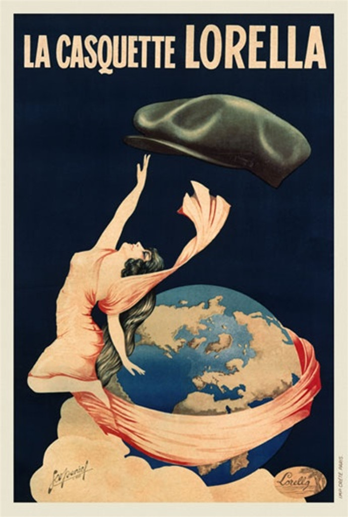 Lorella 1925 France - Beautiful Vintage Poster Reproductions. This vertical French product poster features a woman reaching up to a hat as she floats by a globe with fabric from her dress wrapped around it. Giclee Advertising Print. Classic Posters