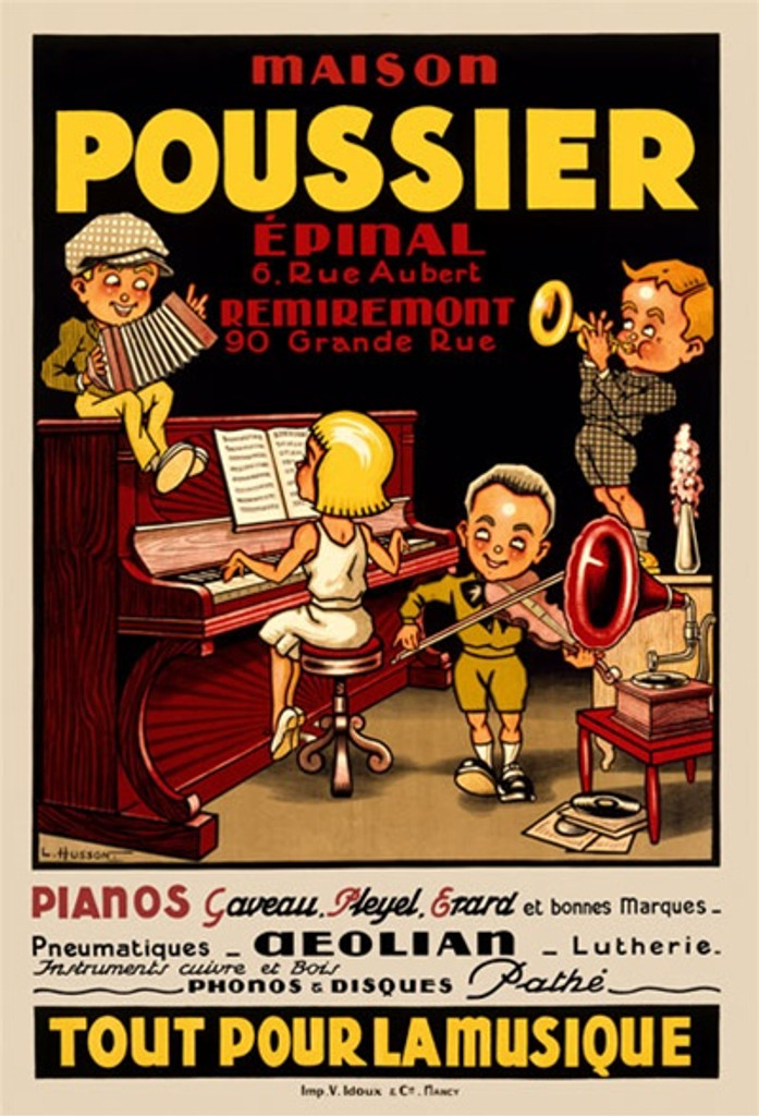 Maison Poussier by Hussein 1926 France - Vintage Poster Reproductions. This vertical French theater and exhibition poster features 4 kids playing musical instuments, a piano, trumpet, violin, and accordion. Giclee Advertising Print. Classic Posters