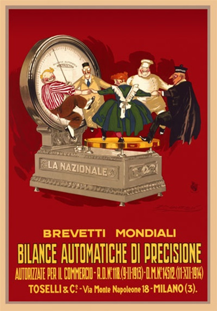 Bilance Automatiche di Prescisione by Mauzan 1920 Italy - Vintage Poster Reproductions. This vertical Italian product poster features a group of people dancing in circle on a scale against a red background. Giclee Advertising Print. Classic Posters