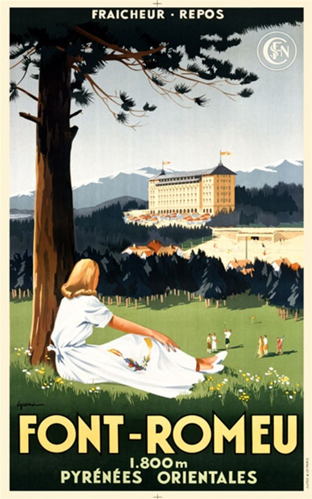 Font Romeu poster by Guerra - Beautiful Vintage Poster Reproductions. French travel poster features a woman sitting leaning on a tree on a hill looking out at golfers below and a resort above the trees. Giclee Advertising Print. Classic Posters