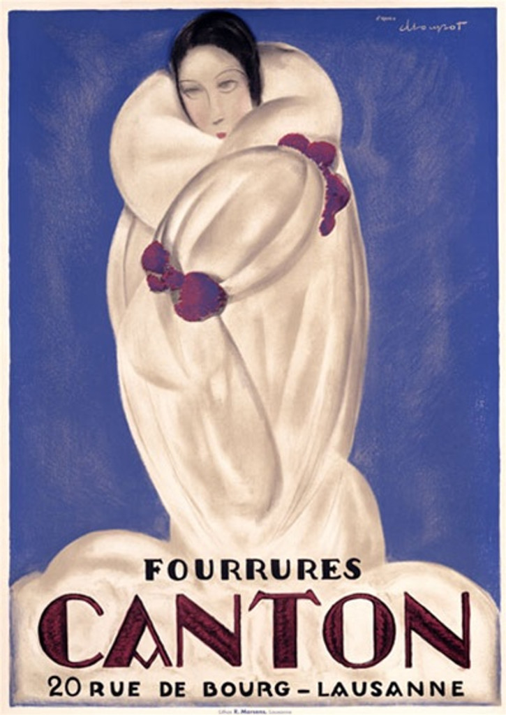 Fourreres Canton by Loupot 1925 Switzerland - Beautiful Vintage Poster Reproductions. This vertical Swiss product poster features a woman in white fur coat so you just see her head against a blue background. Giclee Advertising Print. Classic Posters