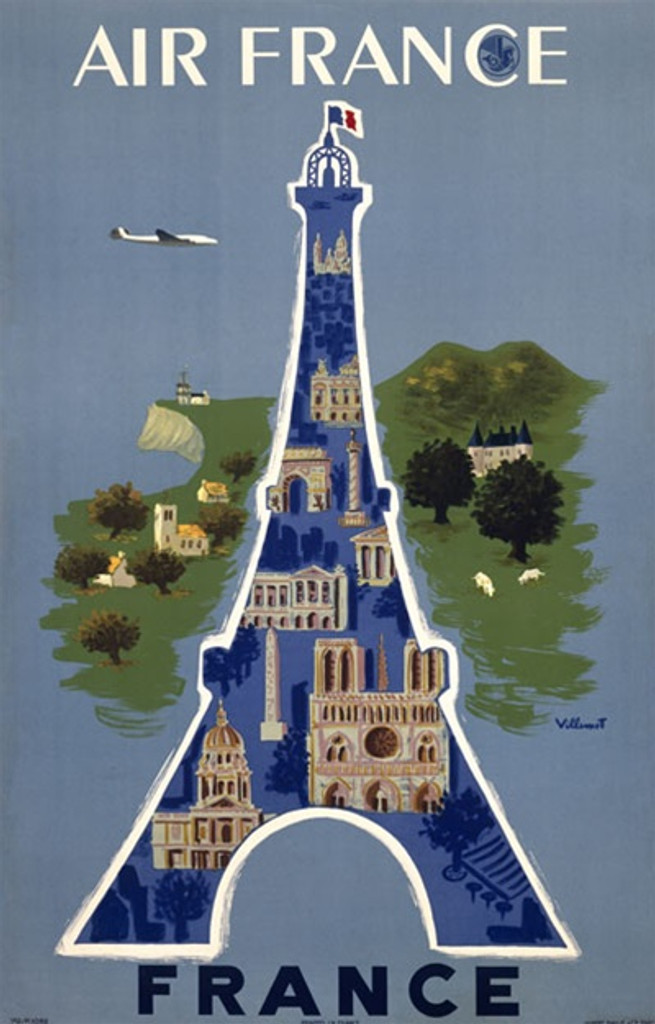 Air France by Villemot 1948 France - Beautiful Vintage Poster Reproductions. This vertical French travel poster features Eiffel Tower with architectural icons in it with the countryside behind it. Giclee Advertising Print. Classic Posters