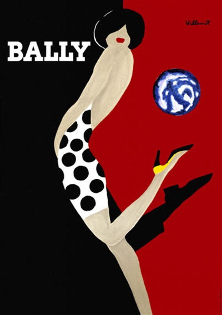 Bally by Villemot 1989 France - Beautiful Vintage Poster Reproductions. This vertical French product poster features a woman in polka dot dress kicking up her high heel shoe against a black and red background. Giclee Advertising Print. Classic Posters