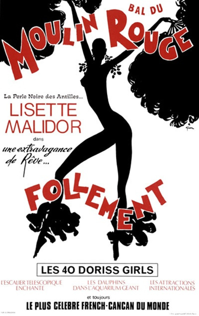 Bal Du Moulin Rouge by Gruau 1970 France - Vintage Poster Reproductions. French theater and exhibition poster features the black silhouette of a burlesque dancer on white background with red text. Giclee Advertising Print. Classic Posters