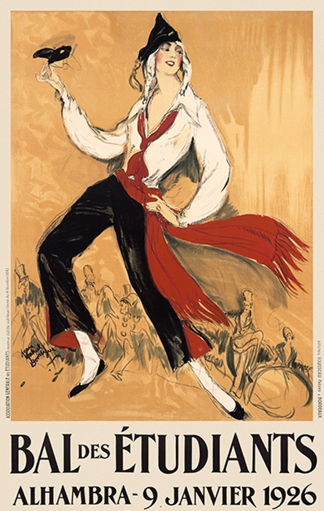 Bal des Etudiants by J.G. Domergue 1926 France - Vintage Poster Reproductions. This vertical French theater and exhibition poster features a woman holding a black mask dancing with a crowded party in the distance. Giclee Advertising Print. Classic Posters