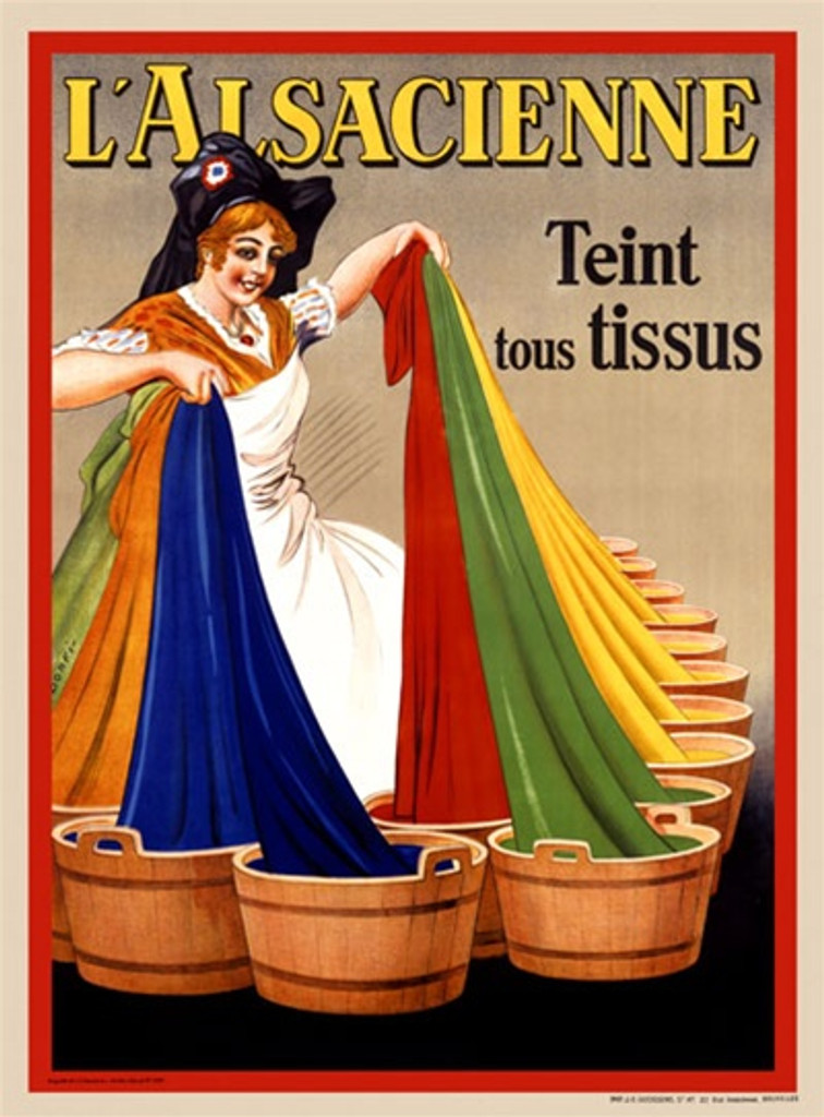 L Alsacienne by Dorfi 1926 Belgium - Beautiful Vintage Poster Reproductions. This vertical Belgian product poster features woman in a white apron pulling a rainbow of colored fabric from wash tubs. Giclee Advertising Print. Classic Posters