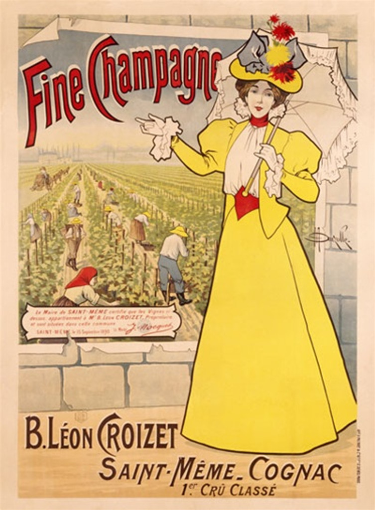 Marcellin Auzolle Fine Champagne Vintage Poster Reproduction. This vertical French wine and spirits poster features a women in yellow dress and parasol in front of a poster of a vineyard. Giclee Advertising Prints. Classic Posters