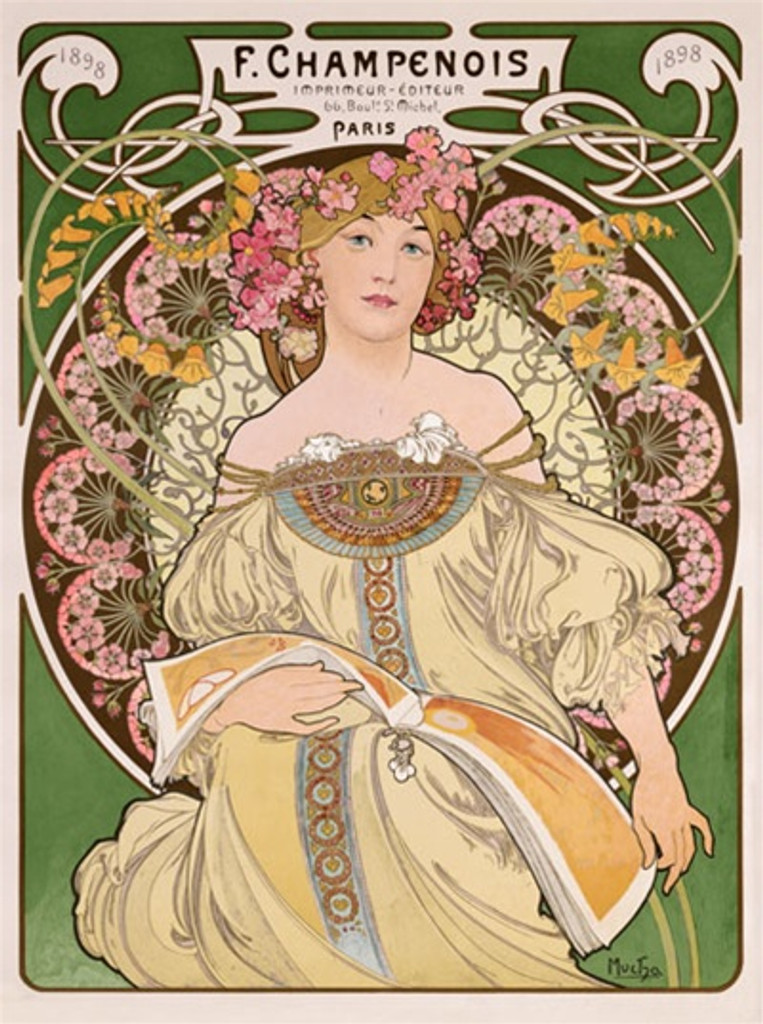 F Champenois by Mucha 1898 France - Vintage Poster Reproductions. This vertical French theater and exhibition poster features a woman with flowers in her hair in a decorative circle flipping through a magazine. Giclee Advertising Print. Classic Posters