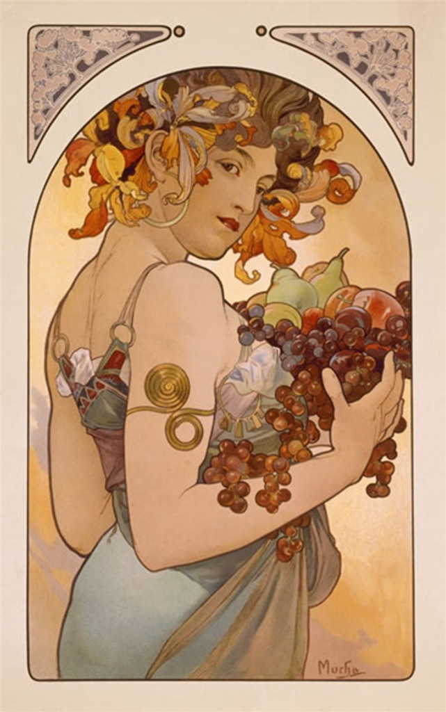 Le Fruit poster by Mucha 1897 France - Beautiful Vintage Poster Reproductions. This vertical French theater and exhibition poster features a woman looking over her shoulder at us as she holds an arm full of fruit. Giclee Advertising Print. Classic Posters