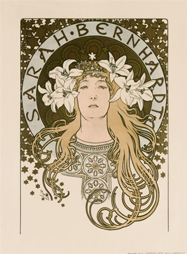 Sarah Bernhardt by Mucha 1897 France - Vintage Poster Reproductions. This vertical French theater and exhibition poster features a woman with long curls and lilies in her hair with a halo circle around her head. Giclee Advertising Print. Classic Posters
