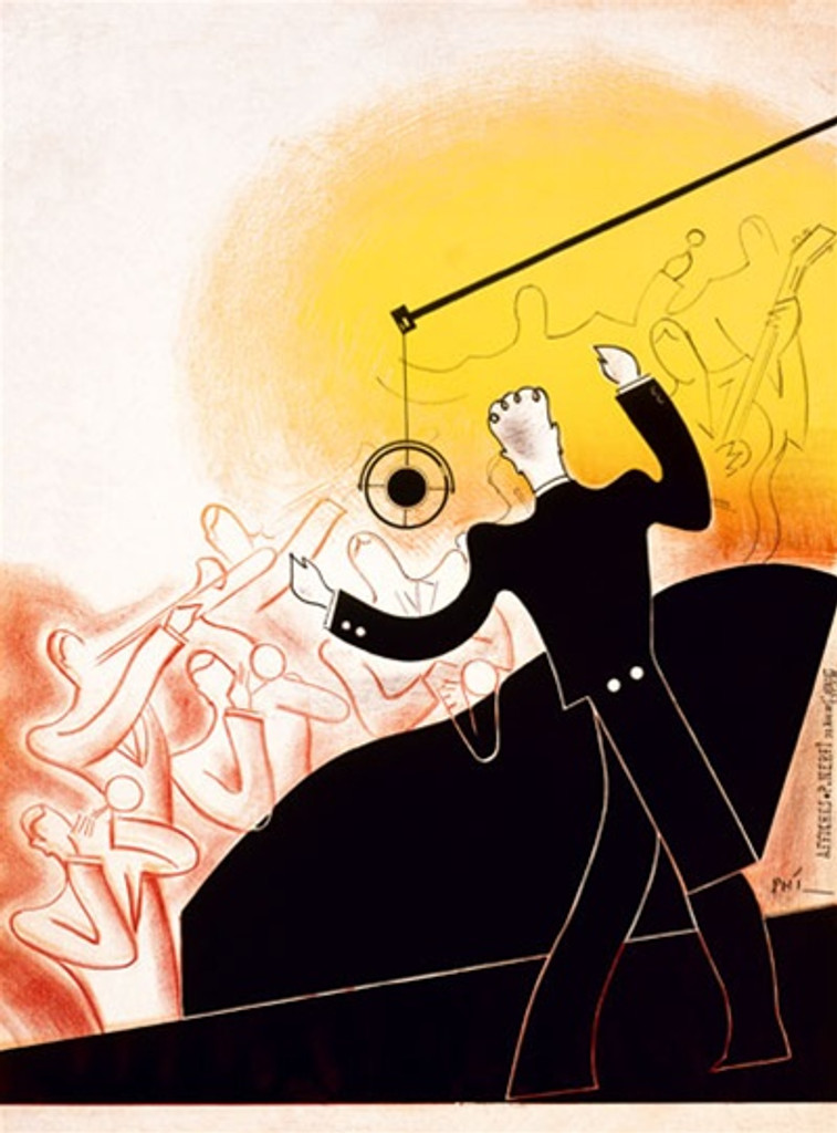 Jazz Proof by Phi 1926 France - Vintage Poster Reproductions. French theater and exhibition poster features a conductor in tuxedo directing outline figures in the band playing horns and strings. Giclee Advertising Print. Classic Posters