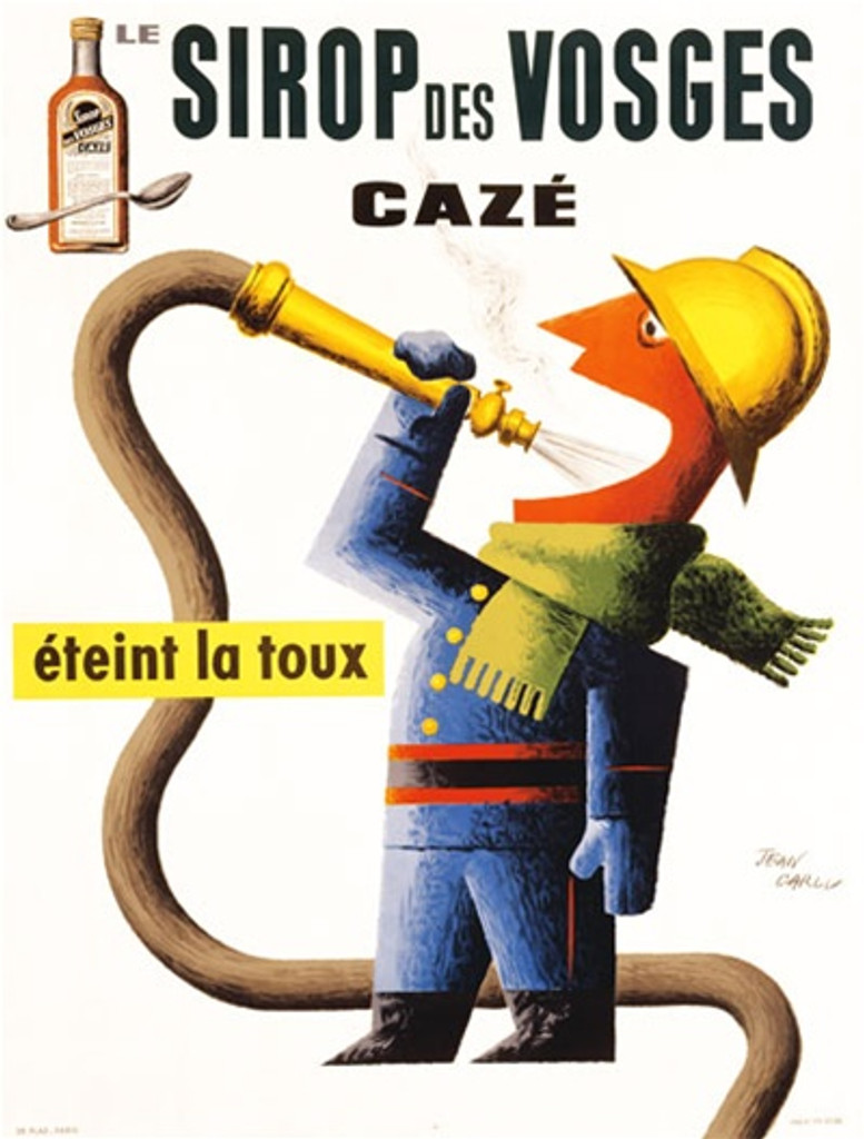 Sirop Des Vosges by Carlu 1938 France - Beautiful Vintage Poster Reproductions. This vertical French product poster features a fireman with green scarf spraying a hose into his mouth to extinguish his cough. Giclee Advertising Print. Classic Posters