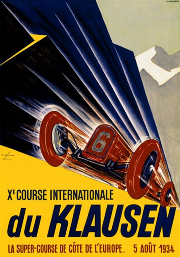 du Klausen 1934 Switzerland - Beautiful Vintage Poster Reproductions. This vertical Swiss transportation poster features a red race car, number 6, racing towards us on a yellow road. Giclee Advertising Print. Classic Posters