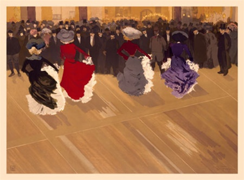 La Quadrill by Truchet 1898 France - Vintage Poster Reproductions. This horizontal French theater and exhibition poster features four ladies kicking up their skirts as they dance in front of a crowd of men. Giclee Advertising Print. Classic Posters