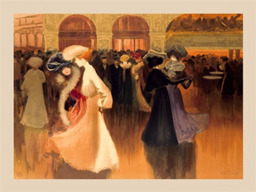 Ses Danseuses by Truchet 1898 France - Vintage Poster Reproductions. This horizontal French theater and exhibition poster features two pairs of women dancing together at a party near a crowd of other guests. Giclee Advertising Print. Classic Posters