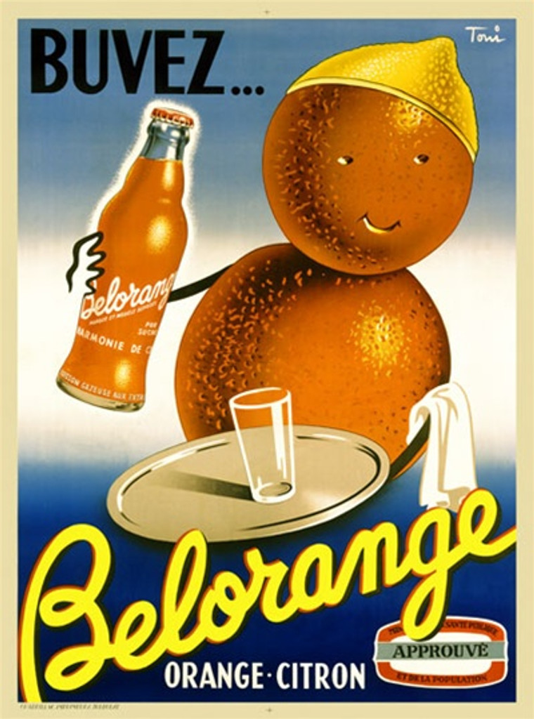 Belorange 1938 France - Beautiful Vintage Poster Reproductions. This vertical French culinary / food poster features a man made of oranges with lemon hat holding a tray with a glass and bottle. Giclee Advertising Print. Classic Posters. Orange Citron