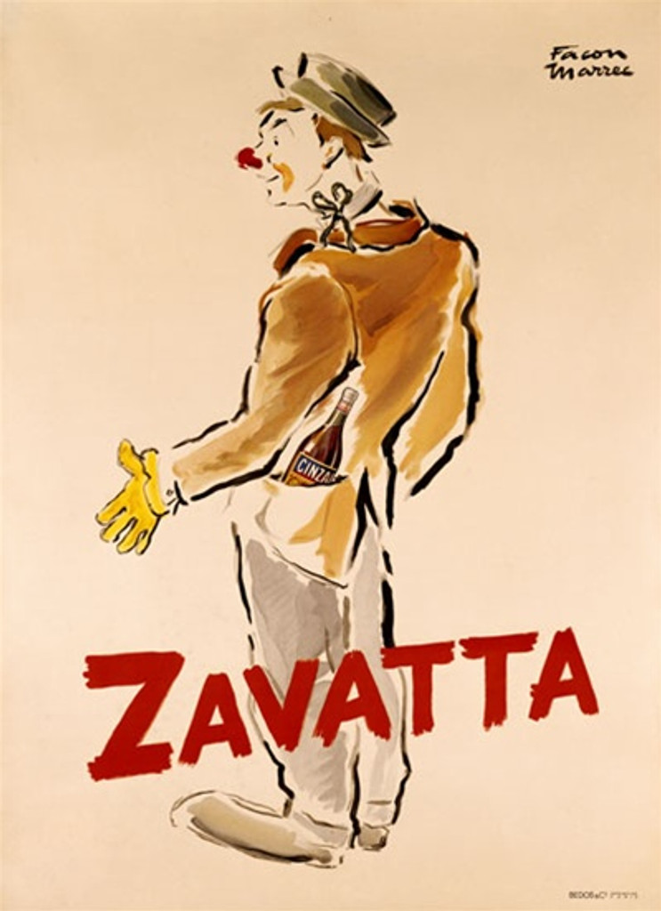 Zavatta 1925 France - Beautiful Vintage Poster Reproductions. This vertical French theater and exhibition poster features a clown with a red nose, green hat and yellow glove carrying a bottle in his pocket. Giclee Advertising Print. Classic Posters
