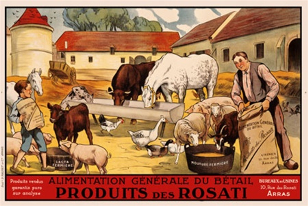 Produits Rosati 1920 France - Beautiful Vintage Poster Reproductions. This horizontal French product poster features a farm full of animals with a man and boy feeding the sheep, goats, pigs, horse, cows & ducks. Giclee Advertising Print. Classic Posters
