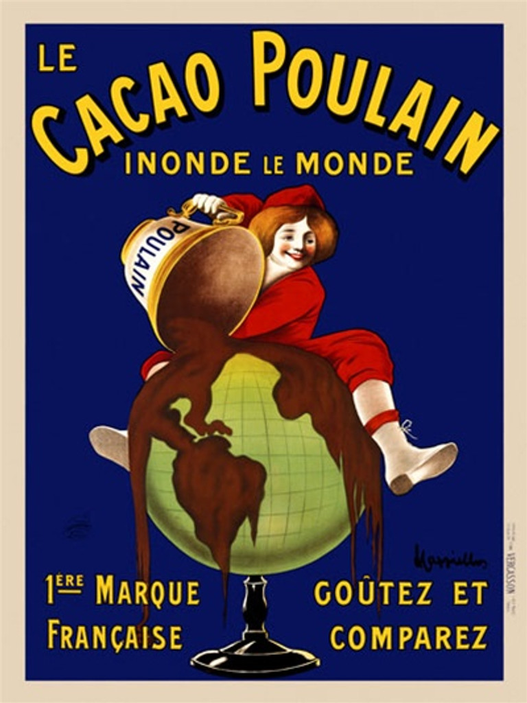 Cacao Poulain by Cappiello 1911 France - Beautiful Vintage Poster Reproduction. This vertical French poster features a child in a red suit pouring chocolate over a globe against a blue background. Giclee advertising print. Classic Posters