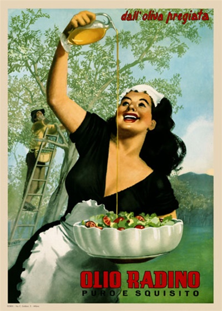 Olio Radino by Boccasile 1948 Italy - Beautiful Vintage Poster Reproductions. This vertical Italian culinary / food poster features a woman in black dress holding a salad bowl pouring olive oil over it in a field. Giclee Advertising Print. Classic Posters