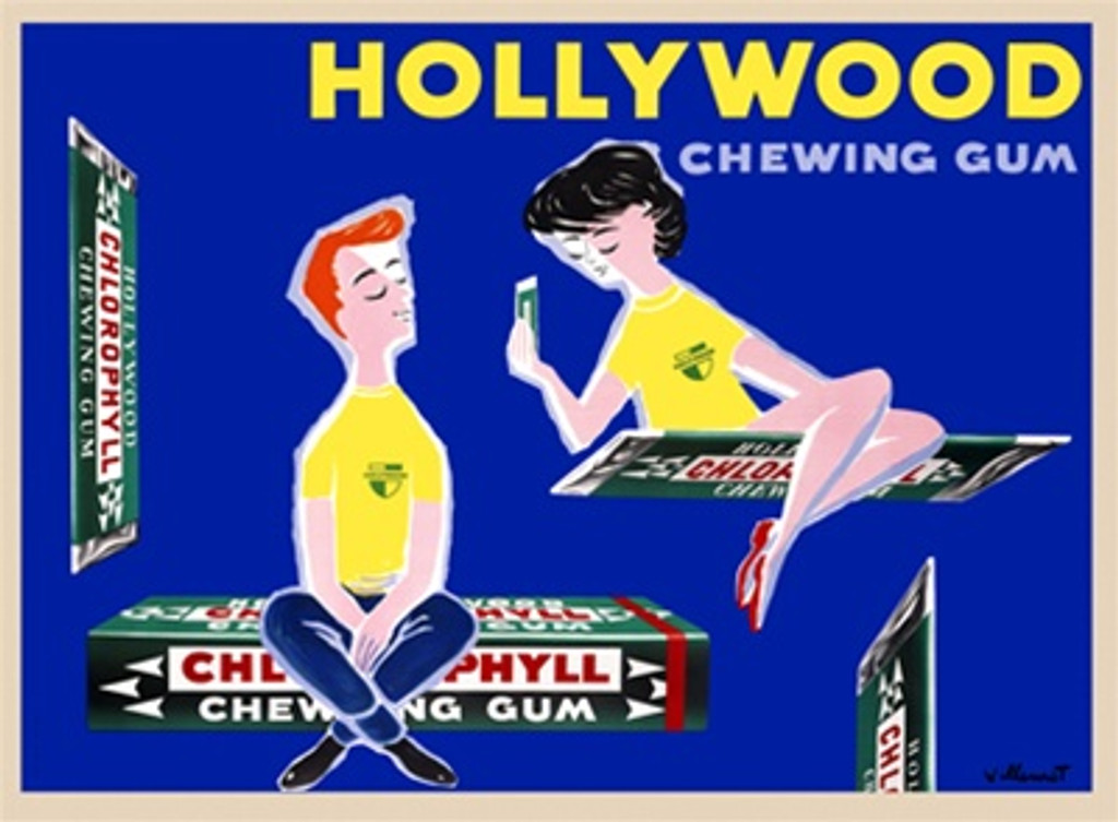 Hollywood chewing gum by Villemot 1956 France - Vintage Poster Reproductions. This horizontal food poster features floating packs of gum with a man and woman sitting on them against blue background. Giclee Advertising Print. Classic Posters