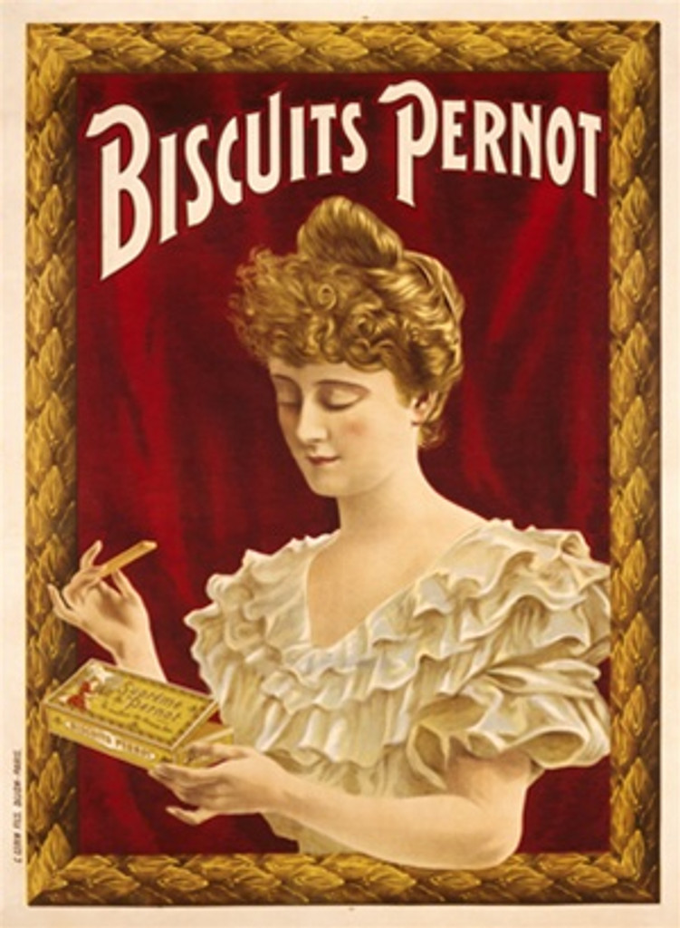 Biscuits Pernot 1900 France - Beautiful Vintage Poster Reproductions. This vertical French culinary / food poster features a woman holding a box of biscuits about to eat one against red background frames. Giclee Advertising Print. Classic Posters