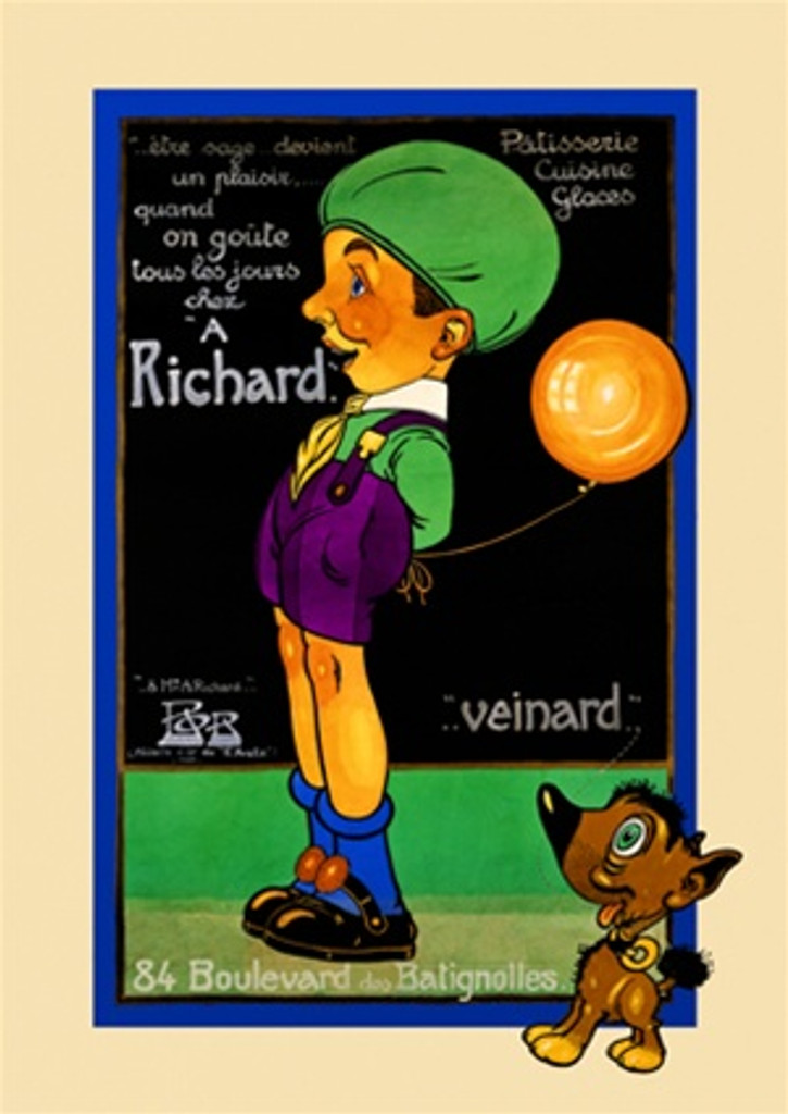 Richard 1925 France - Beautiful Vintage Poster Reproductions. This vertical French culinary / food poster features a boy in profile holding a orange balloon in front of a chalkboard with a dog in corner. Giclee Advertising Print. Classic Posters