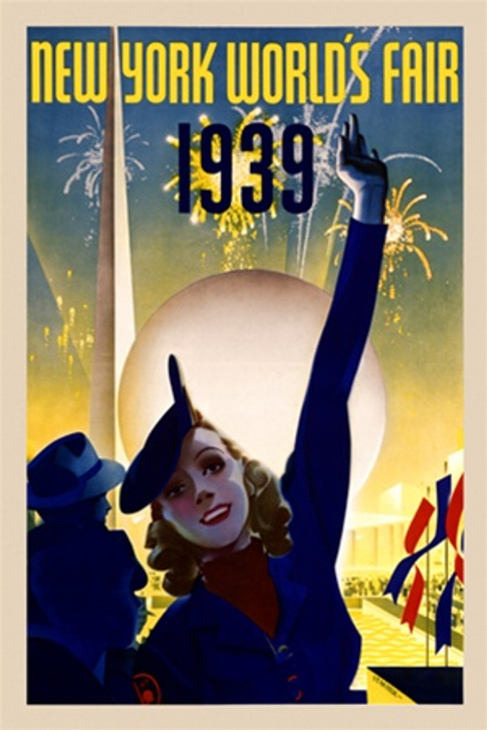New York Worlds Fair by Staehle 1939 America/USA - Vintage Poster Reproductions. This vertical American exhibition poster features a woman raising her hand in the air with fireworks and flag behind her. Giclee Advertising Print. Classic Posters
