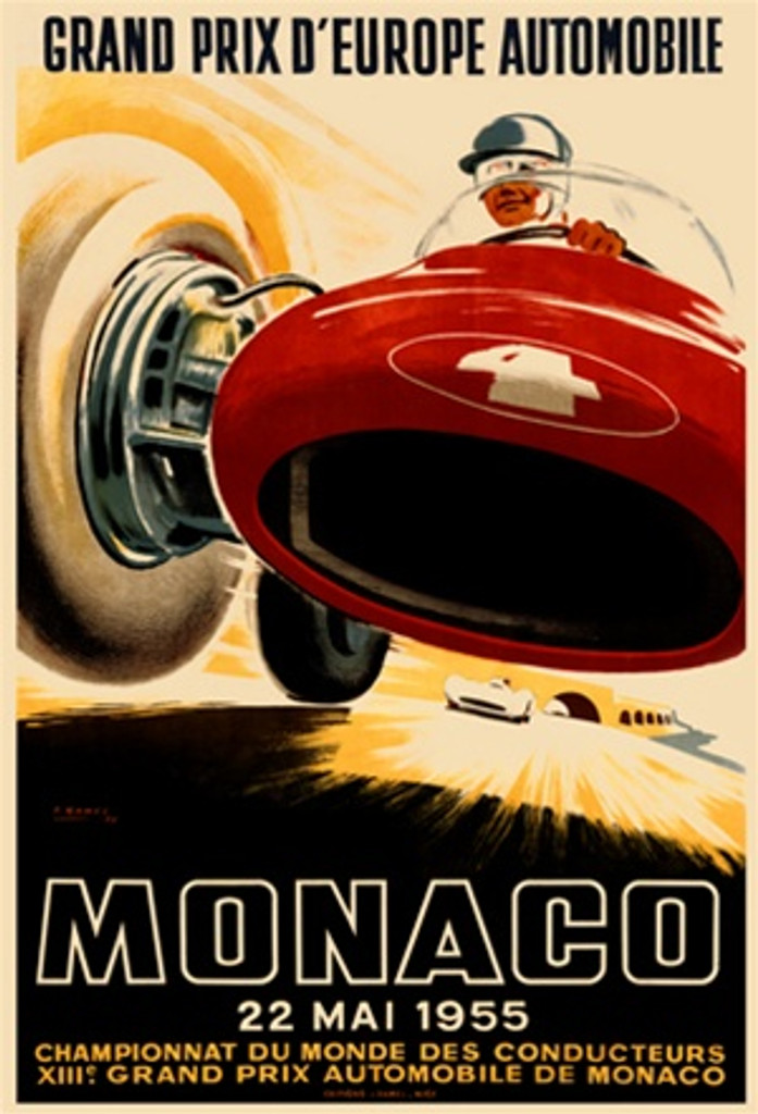 Monaco Grand Prix 1955 Car Race Ham France - Vintage Poster Reproductions. This vertical French transportation poster features a red race car and driver that from a low angle so they appear to be driving over us. Giclee Advertising Print. Classic Posters
