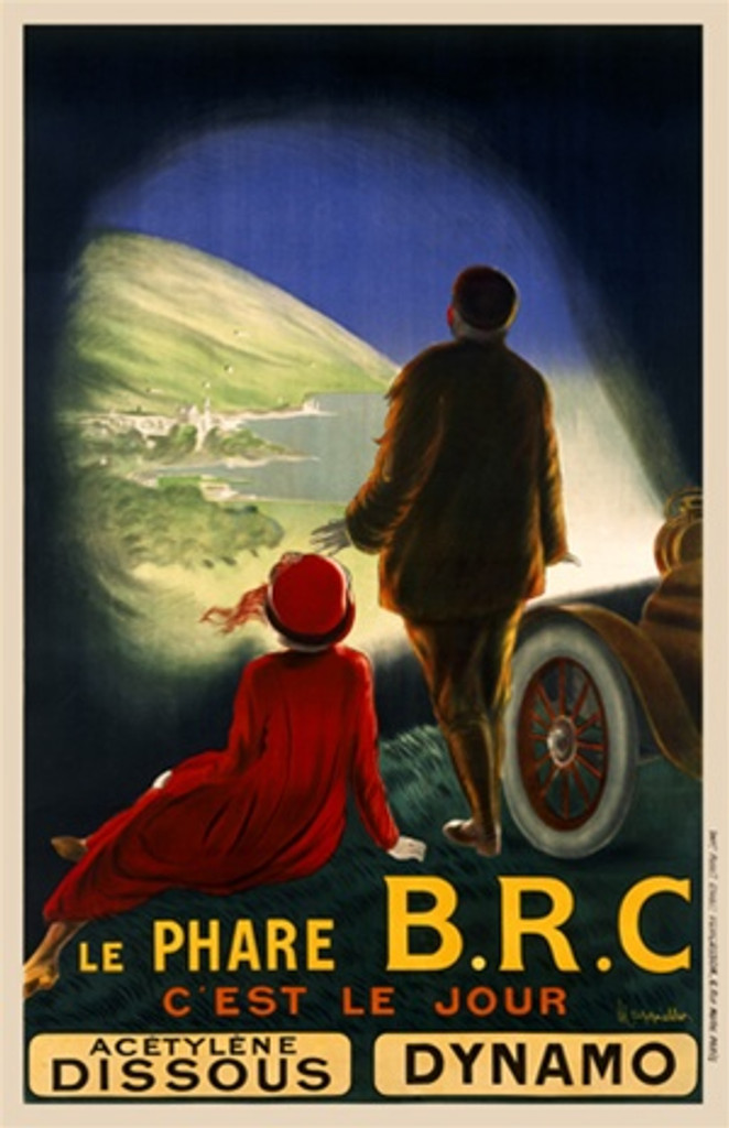 Le Phare BRC by Cappiello 1911 France - Beautiful Vintage Poster Reproduction. This vertical French poster shows a cars headlights illuminating a landscape scene for a couple that have just gotten out of the automobile. Giclee advertising print. Classic