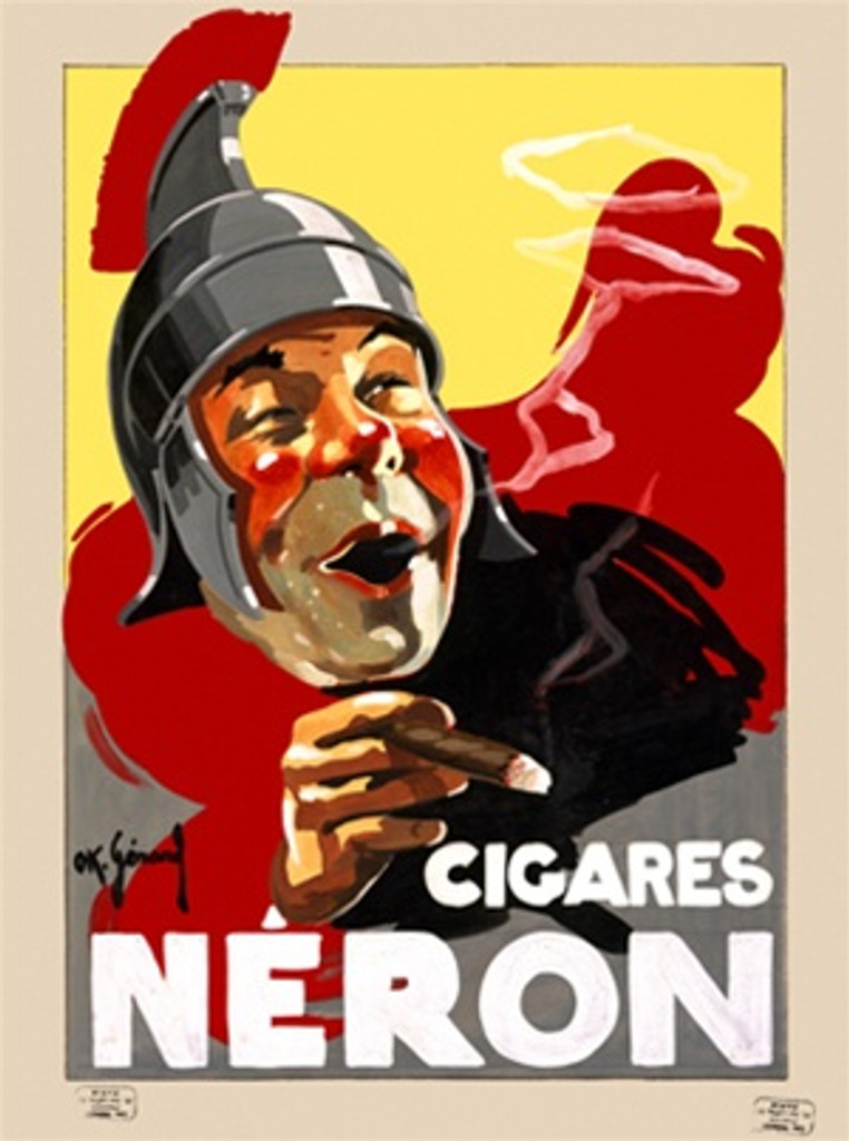 Neron Cigar by Gerard 1925 France - Vintage Poster Reproductions. This vertical French product poster features a spartan soldier with red cheeks and stubble on his chin smoking a cigar and blowing smoke rings. Giclee Advertising Print. Classic Posters