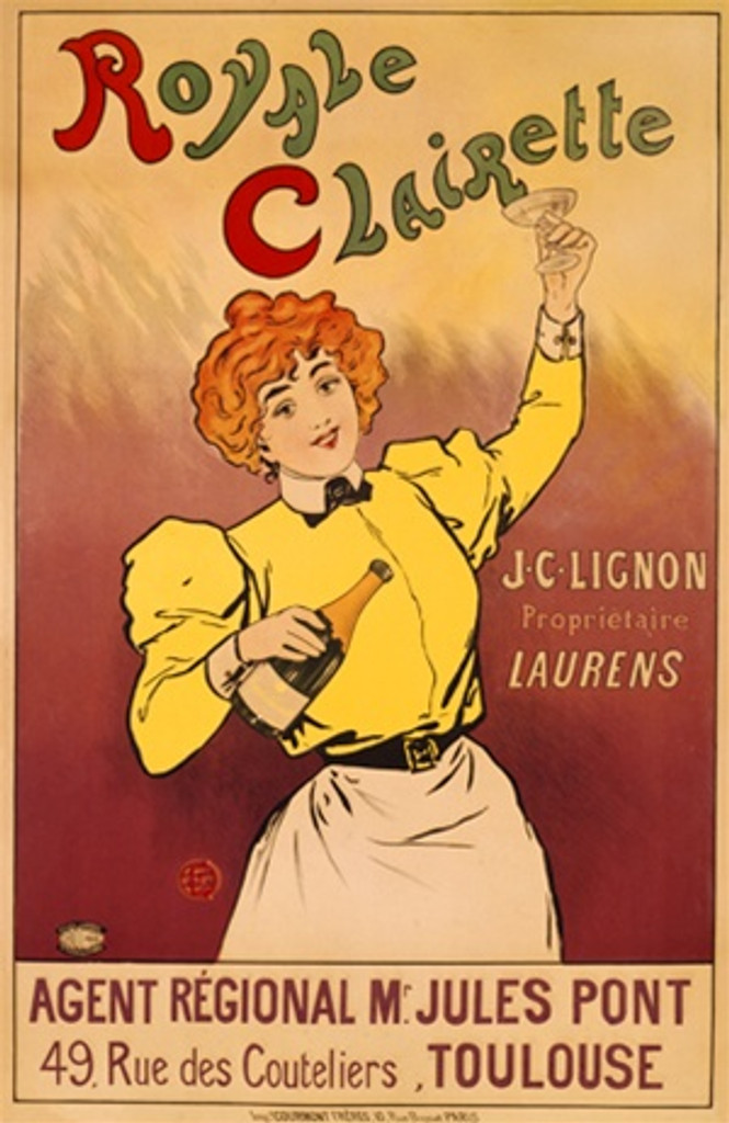 Royale Clairette 1905 France - Beautiful Vintage Poster Reproductions. This vertical French wine and spirits poster features a red headed women holding up a glass and bottle in the other hand. Giclee Advertising Print. Classic Posters