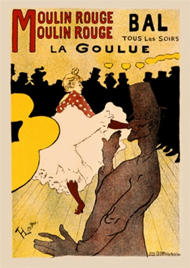 Moulin Rouge Moulin Rouge poster by Lautrec - Vintage Poster Reproductions. French theater poster features a dancer kicking up her skirt in front of a crowd of men in silhouette and one in front. Giclee Advertising Prints. Classic Posters