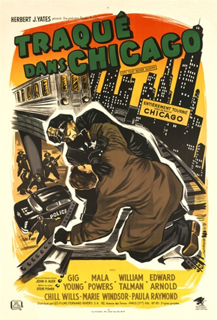 Traque Dans Chicago 1958 France - Beautiful Vintage Poster Reproductions. This vertical French theater and exhibition poster features a police officer wrestling on the tracks with a train coming towards them. Giclee Advertising Print. Classic Posters