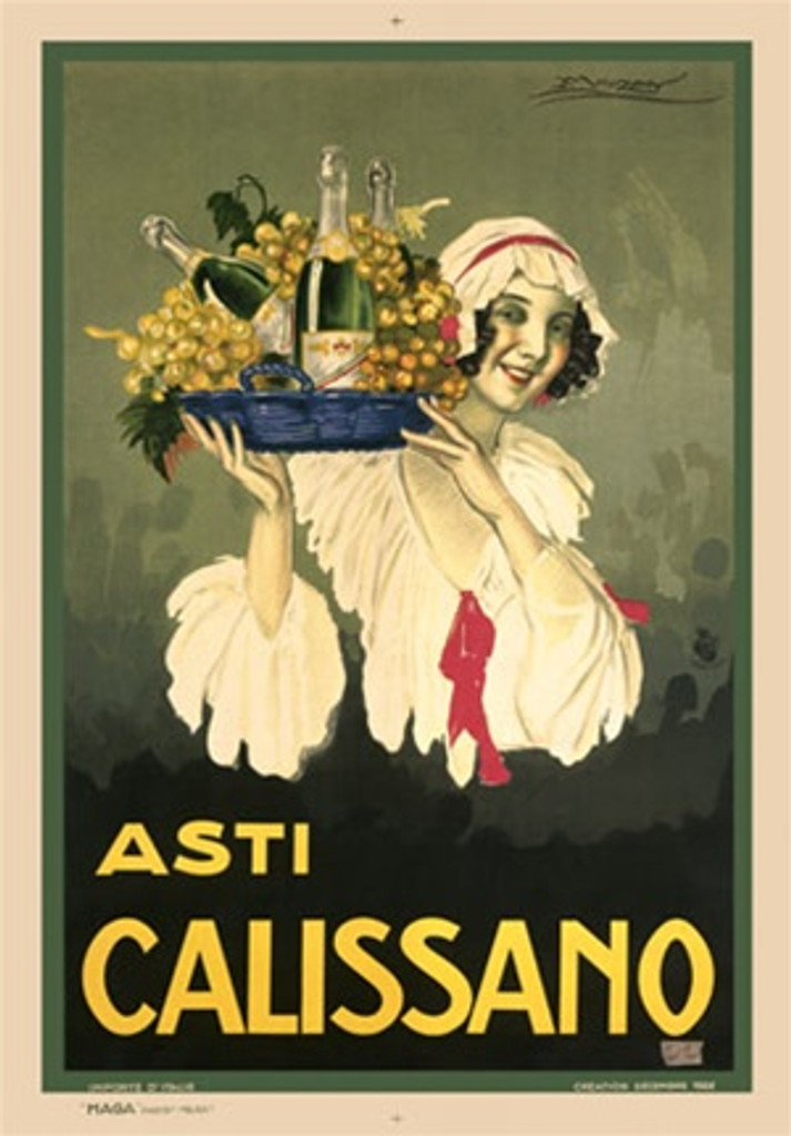 Champagne Asti Calissano by Mauzan 1920 Italian - Beautiful Vintage Poster Reproductions. This wine and spirits poster features a woman in a white bonnet carrying a tray of grapes and champagne bottles. Giclee Advertising Print. Classic Posters