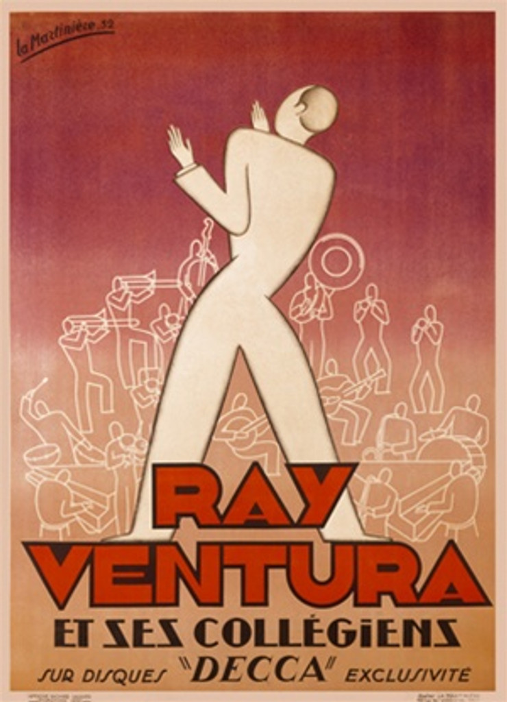 Ray Ventura 1930 France - Beautiful Vintage Poster Reproductions. This vertical French theater and exhibition poster features an outline of a man in white standing in front of a pyramid of musicians. Giclee Advertising Print. Classic Posters